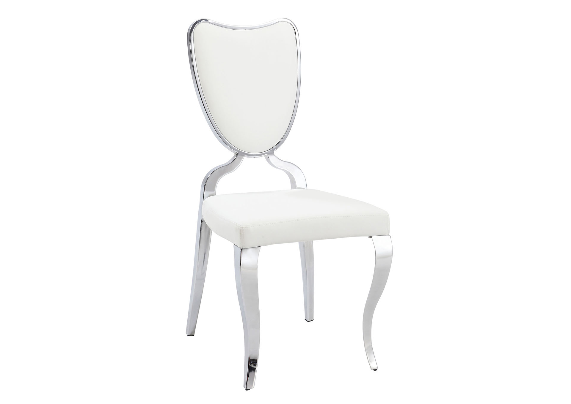 Letty Chrome Heart-Back Chair with Cabriole Legs [Set of 2],Chintaly Imports