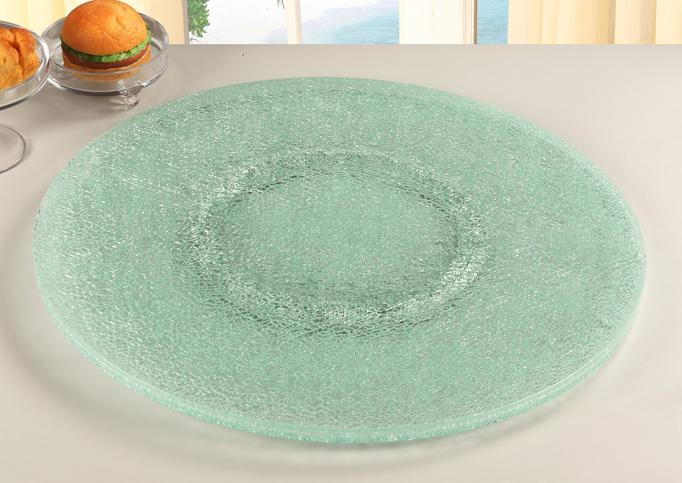 "Lazy Susan 24"" Cracked Glass,Chintaly Imports"