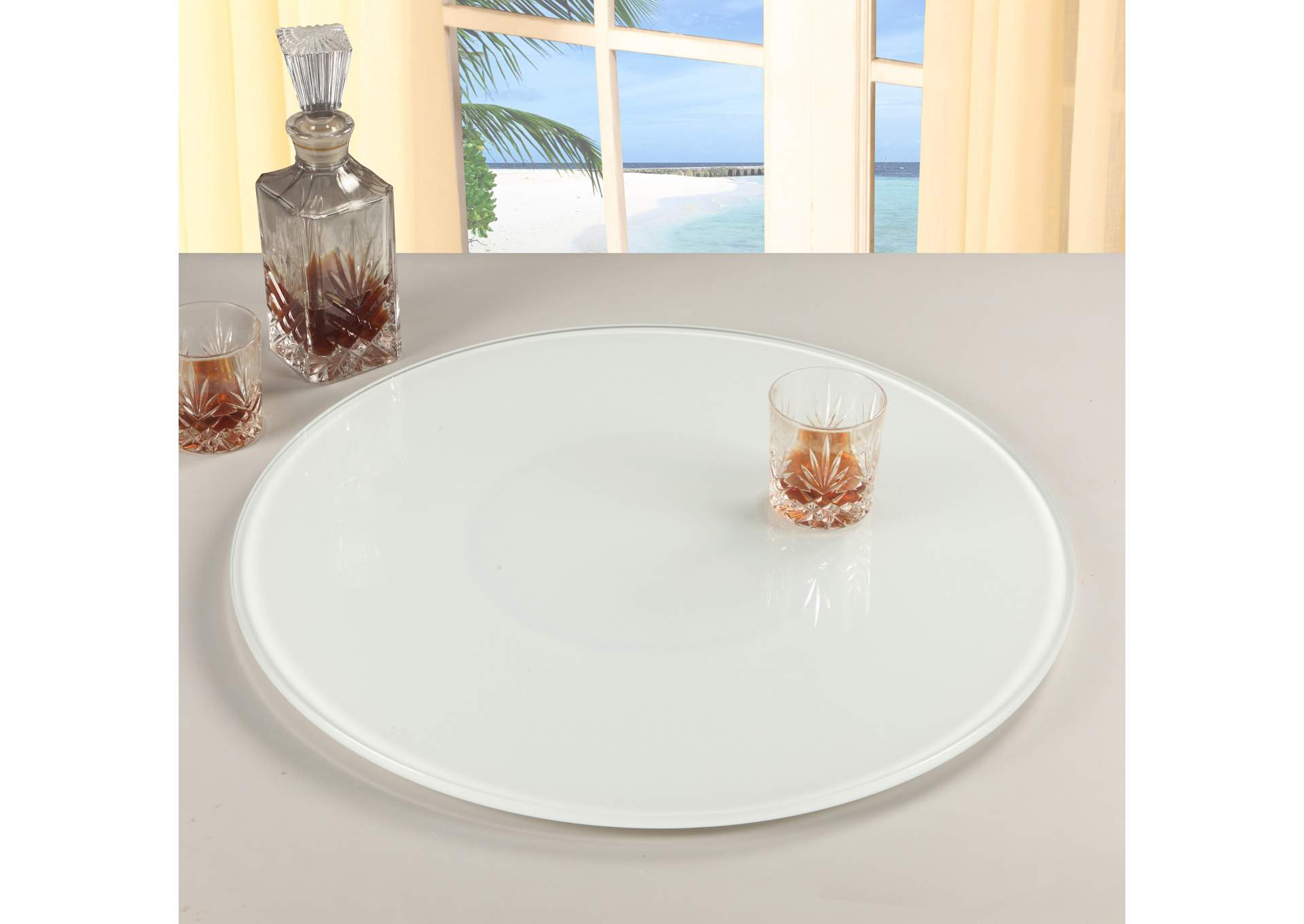 "White 24"" Round White Glass Lazy Susan,Chintaly Imports"