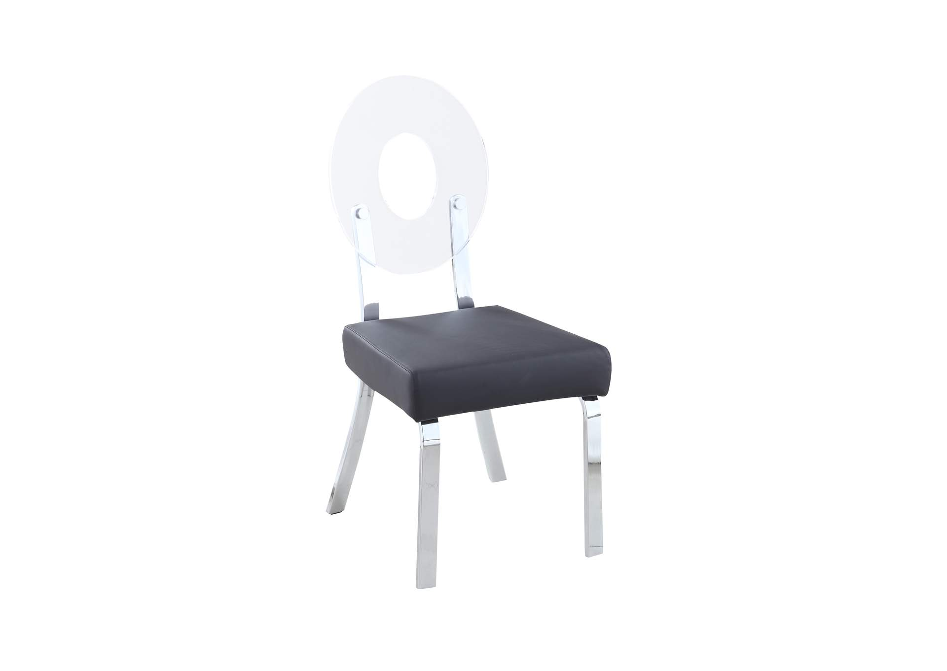 Lenor Black Acrylic-Back Side Chair (Set of 2),Chintaly Imports