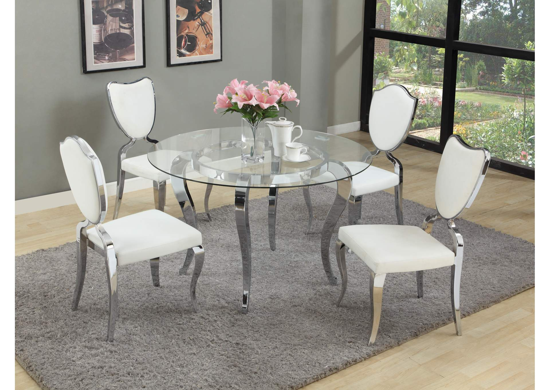 Letty White Round Glass Top 5 Piece Dining Room Set All Brands Furniture Edison Greenbrook North Brunswick Perth Amboy Linden Nj