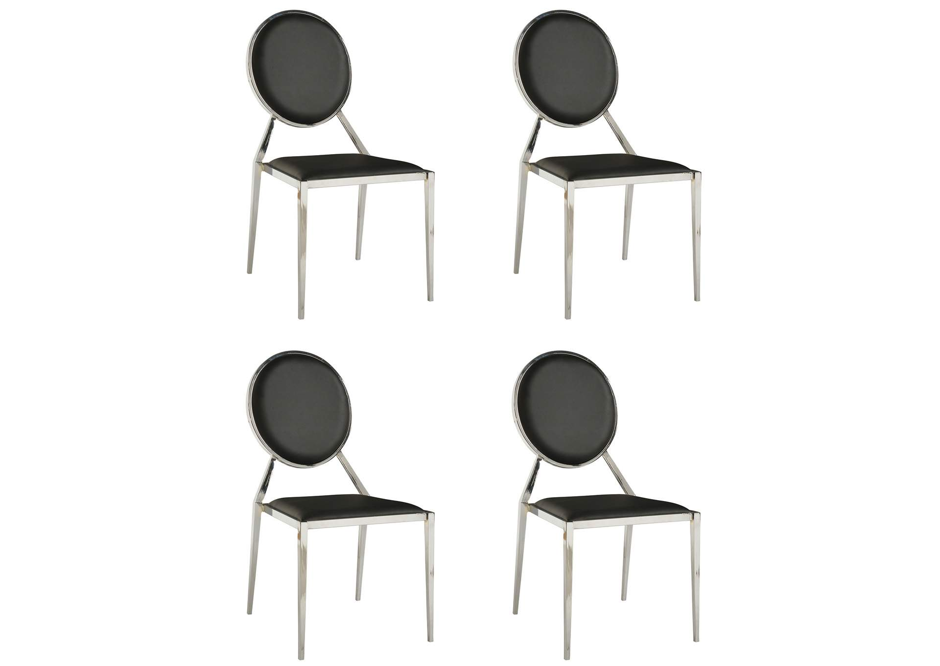 Lisa Black Round-Back Side Chair (Set of 4),Chintaly Imports