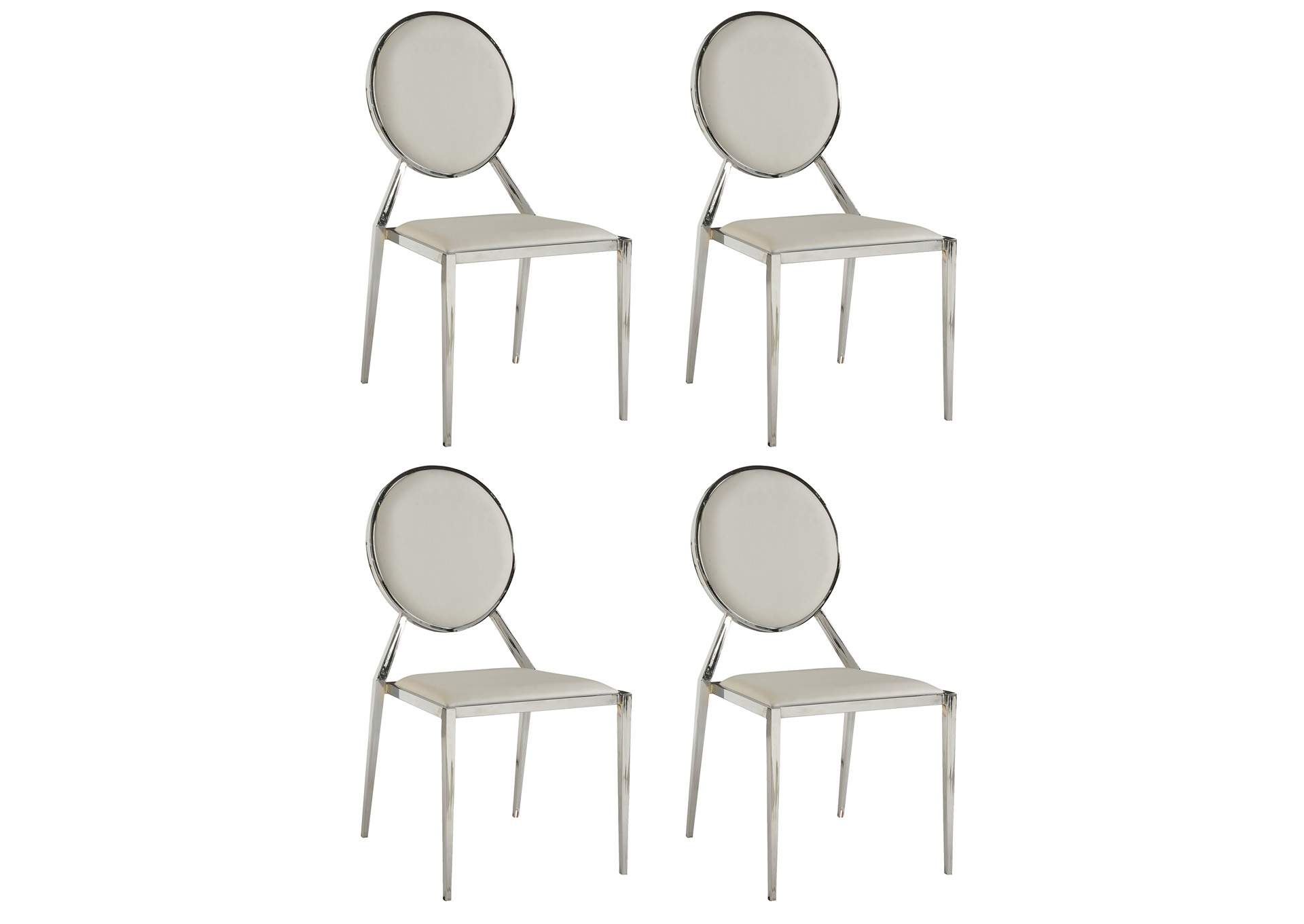 Lisa White Round-Back Side Chair (Set of 4),Chintaly Imports