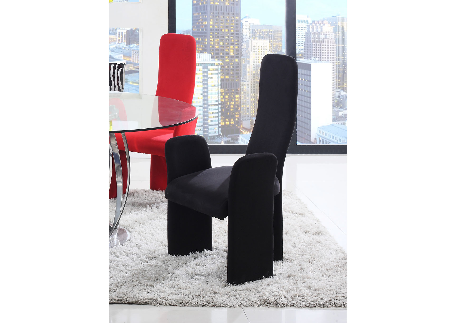 Lucy Black High Contour Back Arm Dining Chair (Set of 2),Chintaly Imports