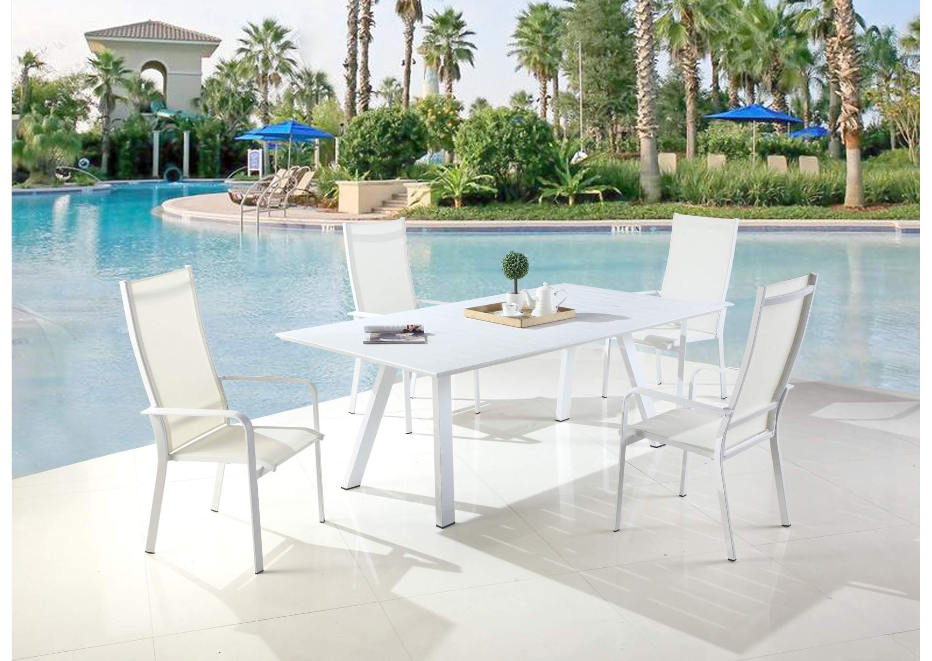 Malibu Matte White UV Resistant Outdoor Large Rectangular Table,Chintaly Imports