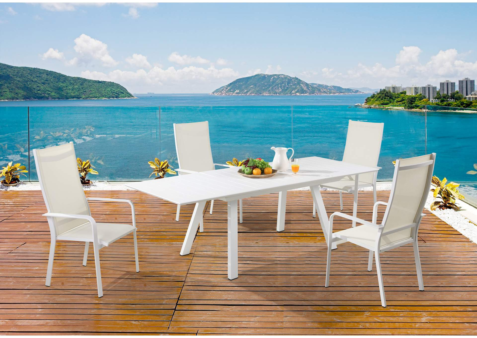 Malibu Matte White Outdoor UV Resistant Dining Set w/ Extendable Table & HB Chairs,Chintaly Imports