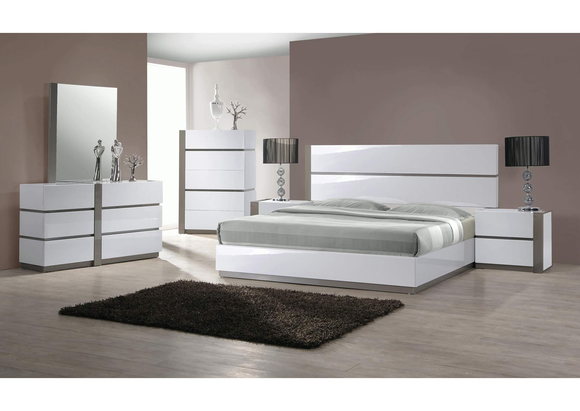 Manila Gloss White & Grey Panel King 4 Piece Bedroom Set W/ Nightstand, Dresser & Mirror,Chintaly Imports