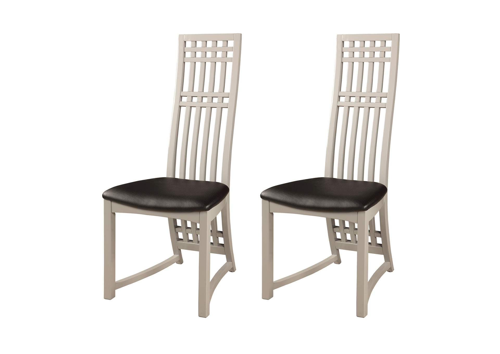 Margaret Gloss Grey High Back Lacquer Side Chair (Set of 2),Chintaly Imports