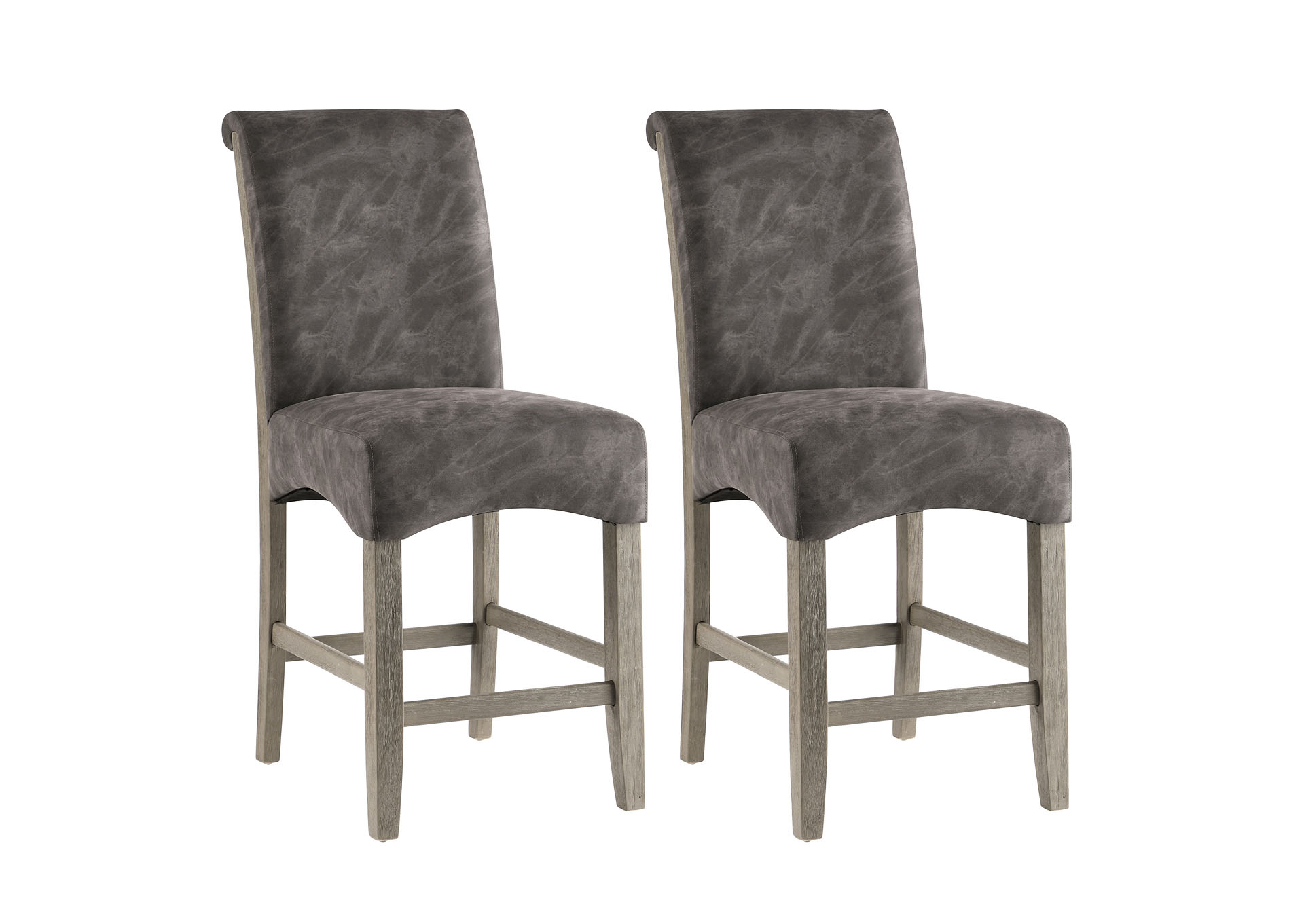 Marla Marble Grey Roll Back Parson Counter Stool (Set of 2),Chintaly Imports