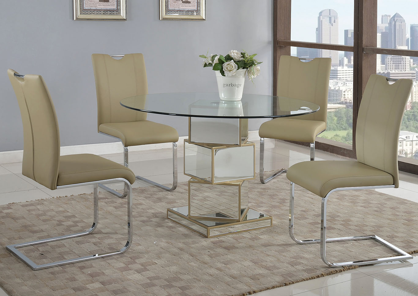 Marlene-Melissa Taupe Dining Table w/4 Side Chairs,Chintaly Imports