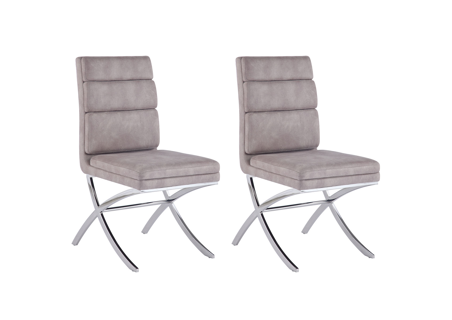 Maya Dark Grey Channel-Back Side Chair (Set of 2),Chintaly Imports