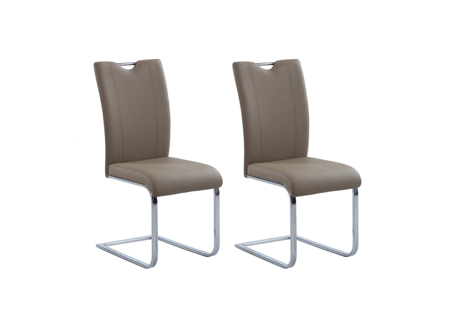 Melissa Taupe Handle-Back Side Chair (Set of 2),Chintaly Imports
