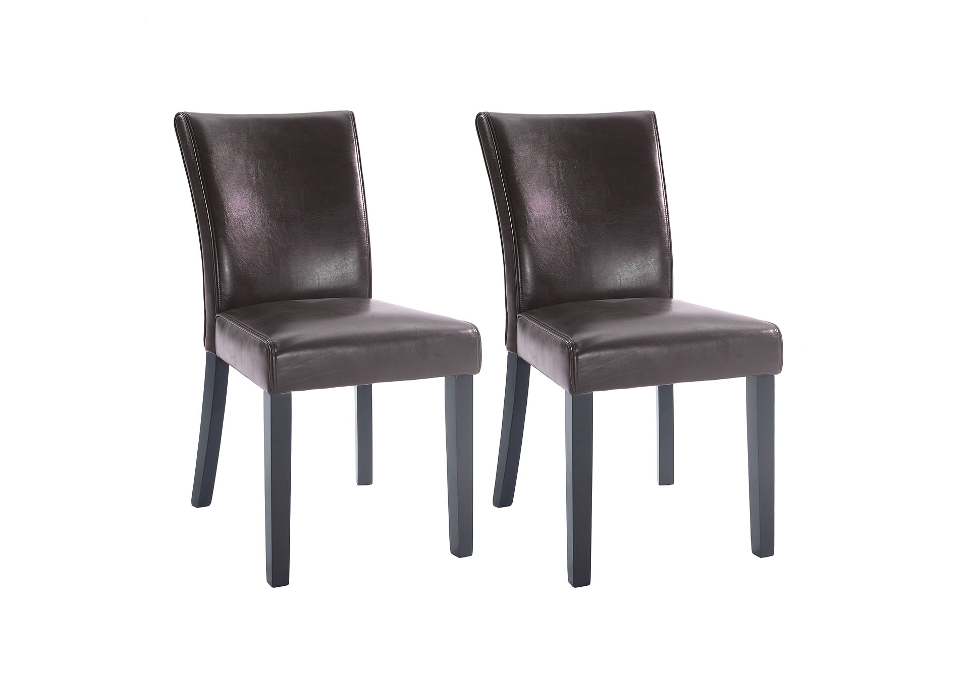 Michelle Brown Bonded Leather Parson Chair (Set of 2),Chintaly Imports