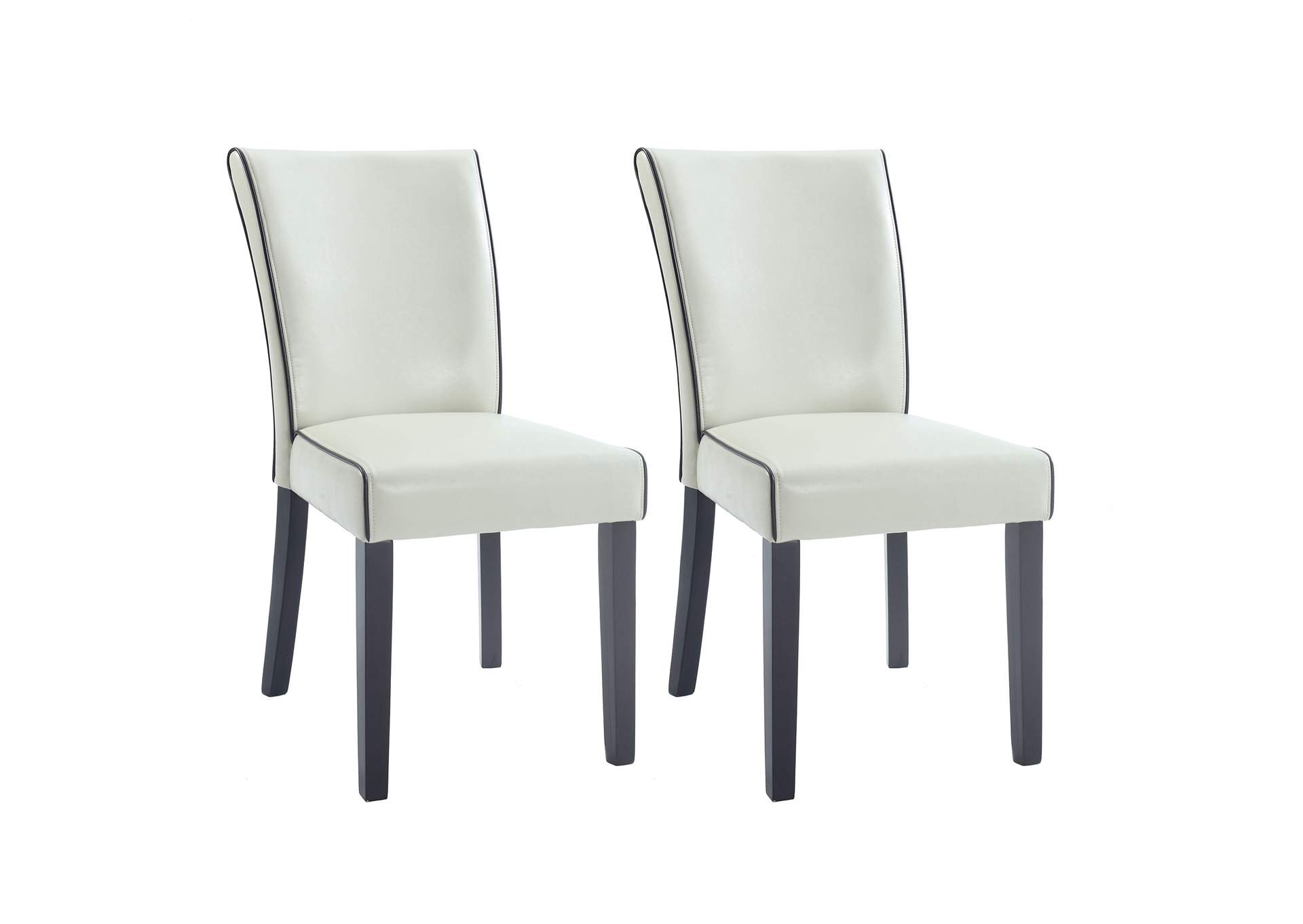 Michelle Cream Bonded Leather Parson Chair (Set of 2),Chintaly Imports