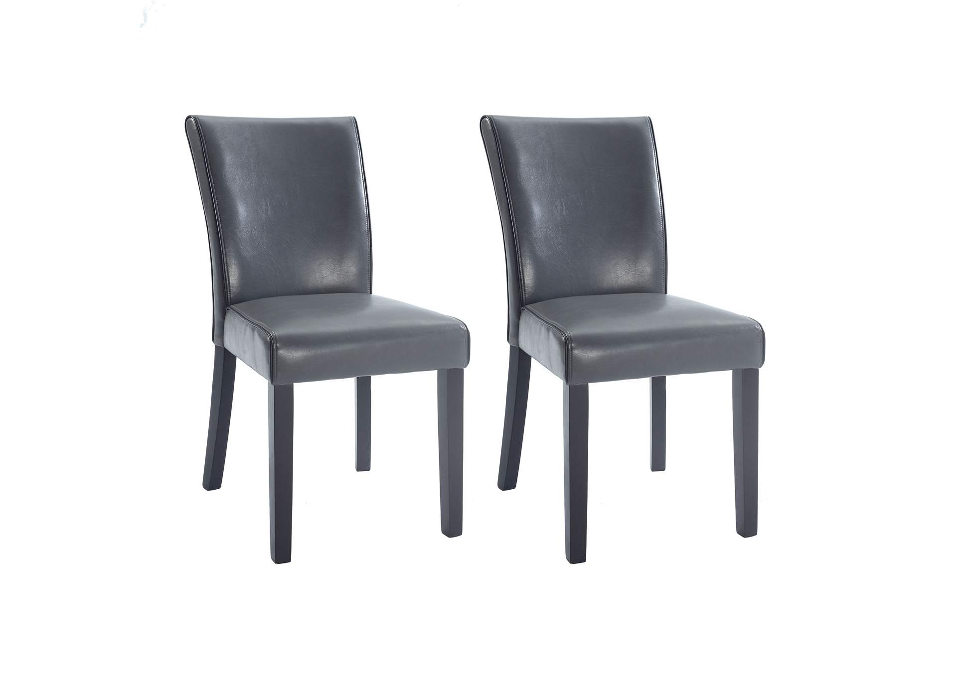 Michelle Grey Bonded Leather Parson Chair (Set of 2),Chintaly Imports