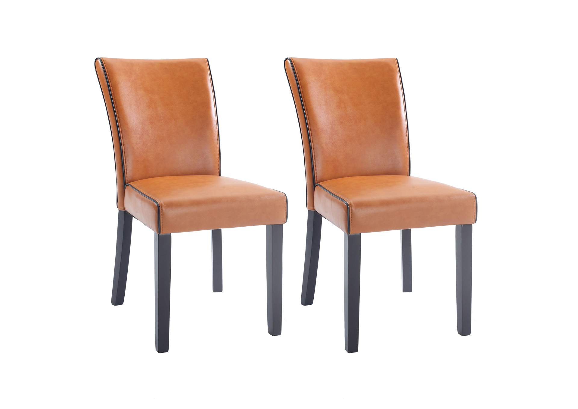 Michelle Orange Bonded Leather Parson Chair (Set of 2),Chintaly Imports