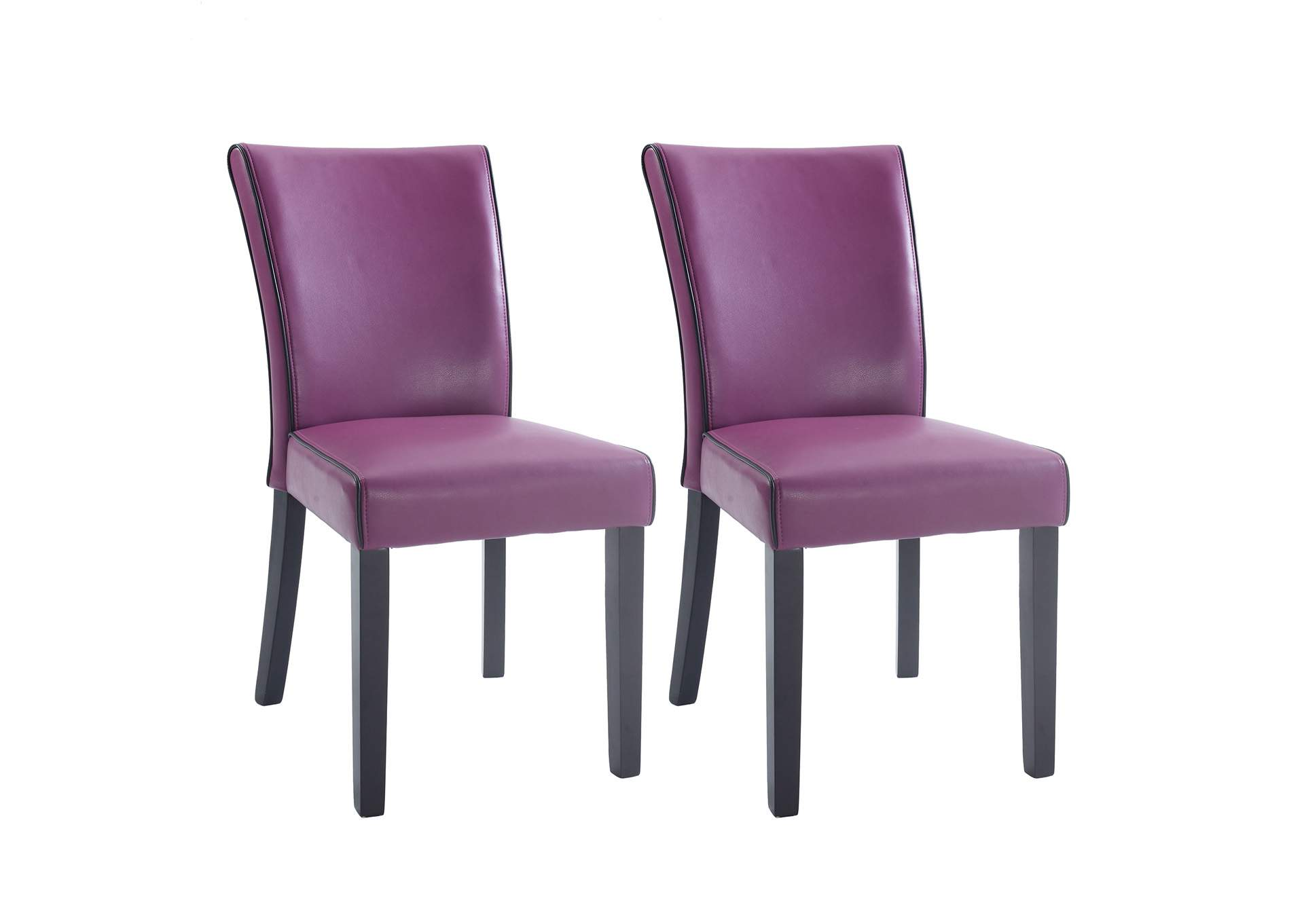 Michelle Purple Bonded Leather Parson Chair (Set of 2),Chintaly Imports