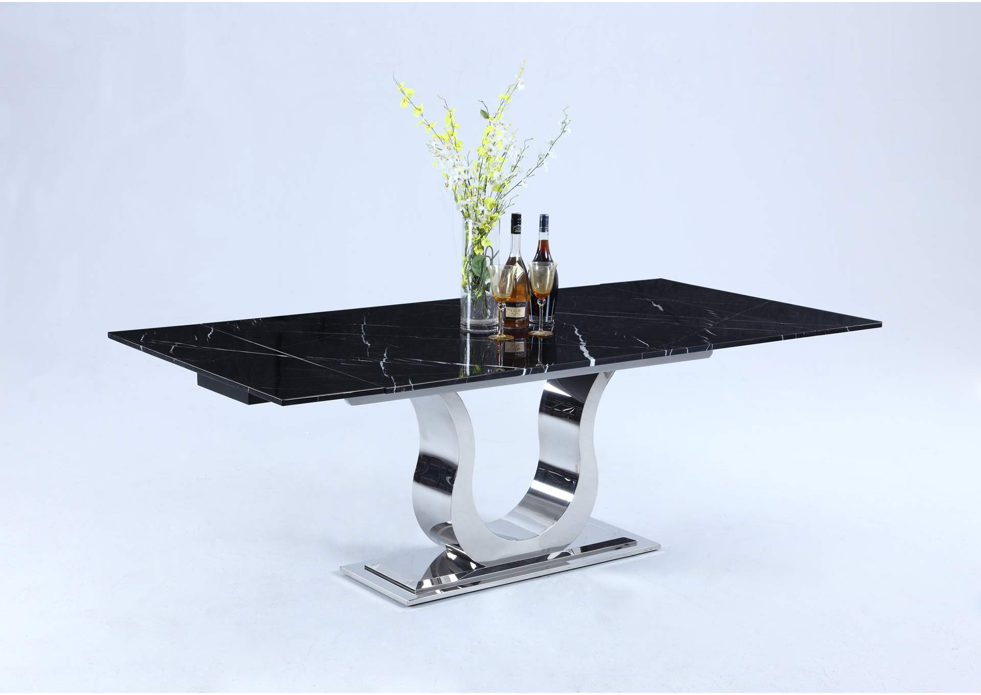 Nadia Black Marquina Marble Top Dining Table,Chintaly Imports