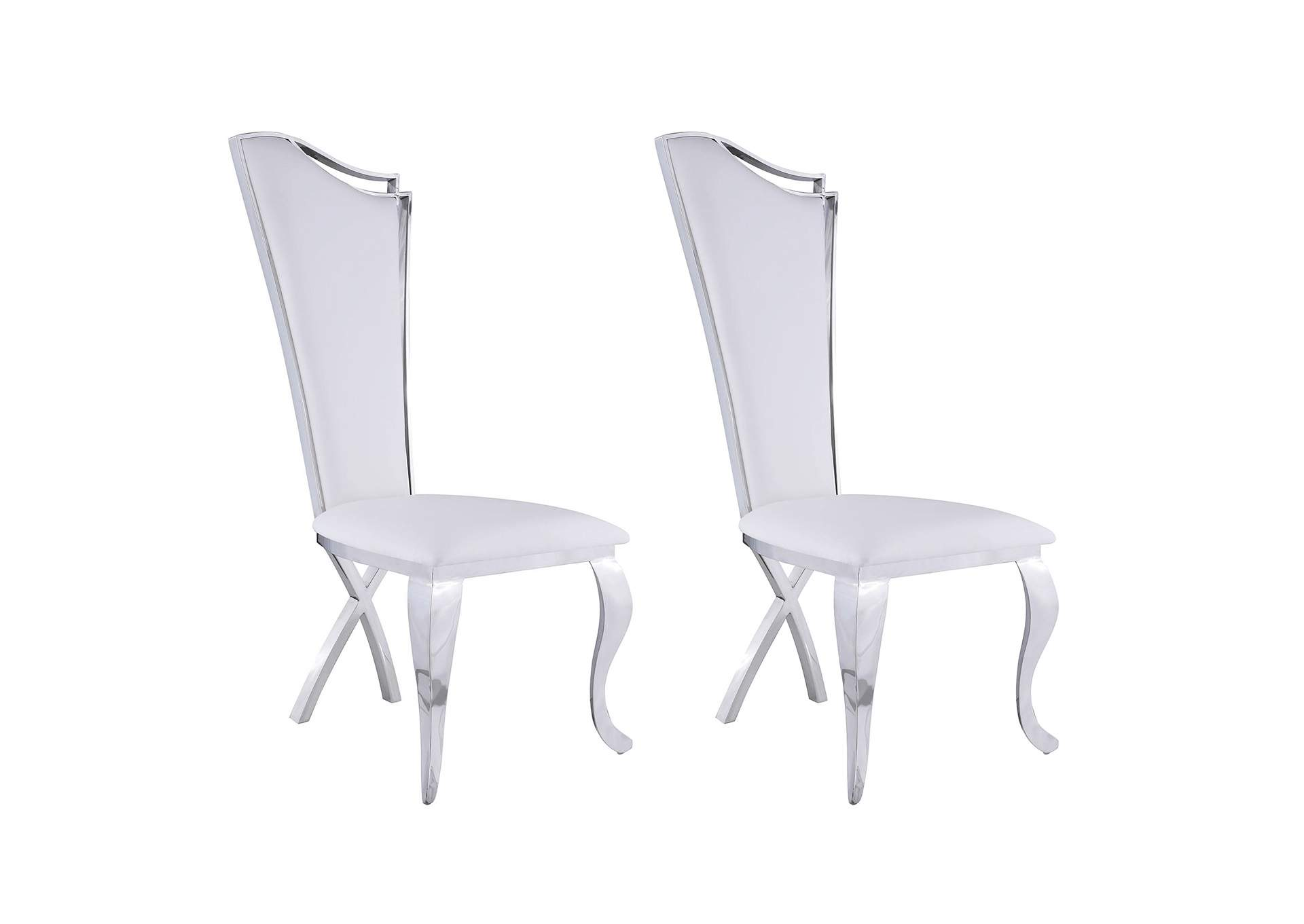 Nadia White Tall-Back Upholstered Side Chair (Set of 2),Chintaly Imports