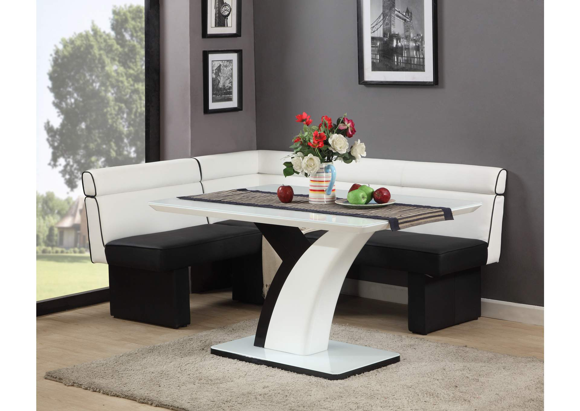 Natasha Gloss White & Black Rectangular Dining Table & Nook,Chintaly Imports