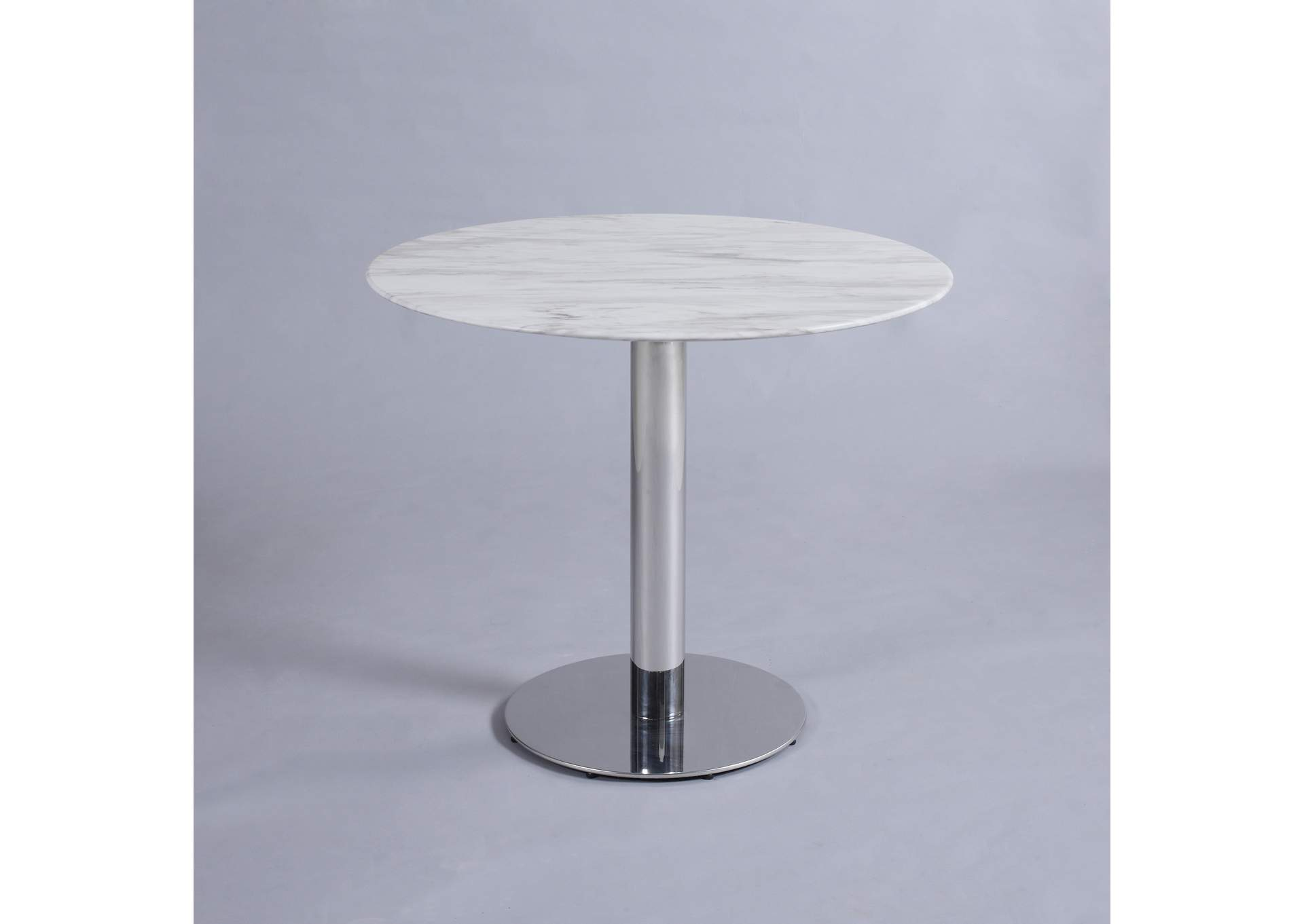 Noemi Jazz White Round Marble Top Dining Table,Chintaly Imports