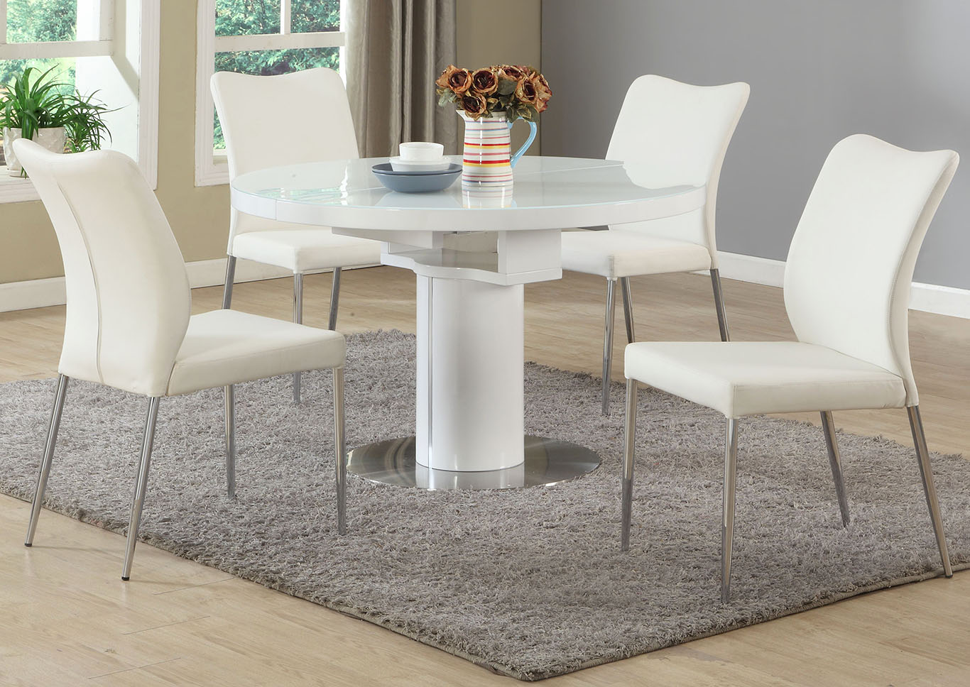 Nora White Dining Table w/4 Side Chairs,Chintaly Imports