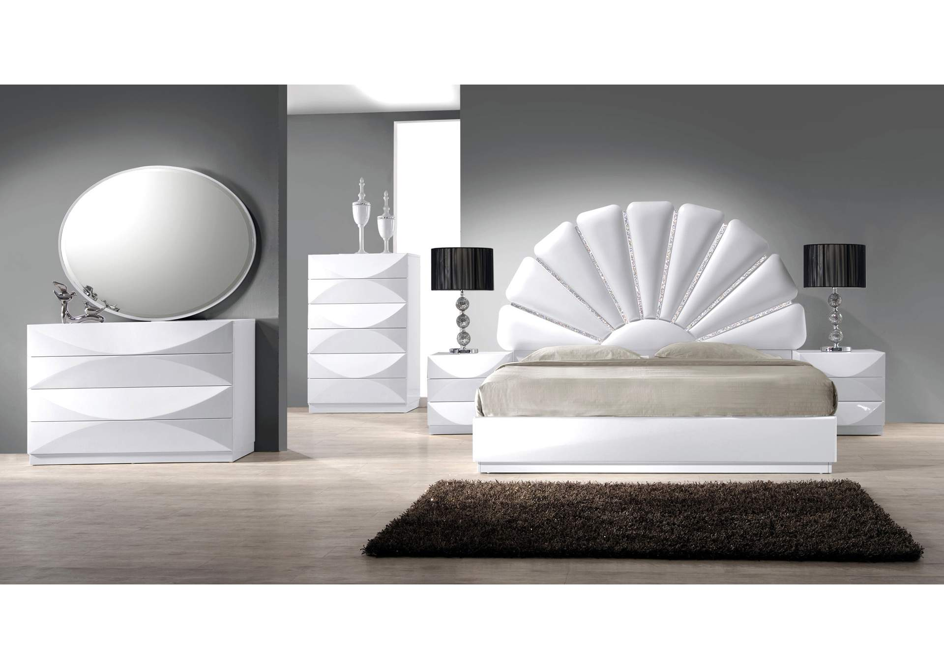 Paris Gloss White 8 Drawer Dresser,Chintaly Imports