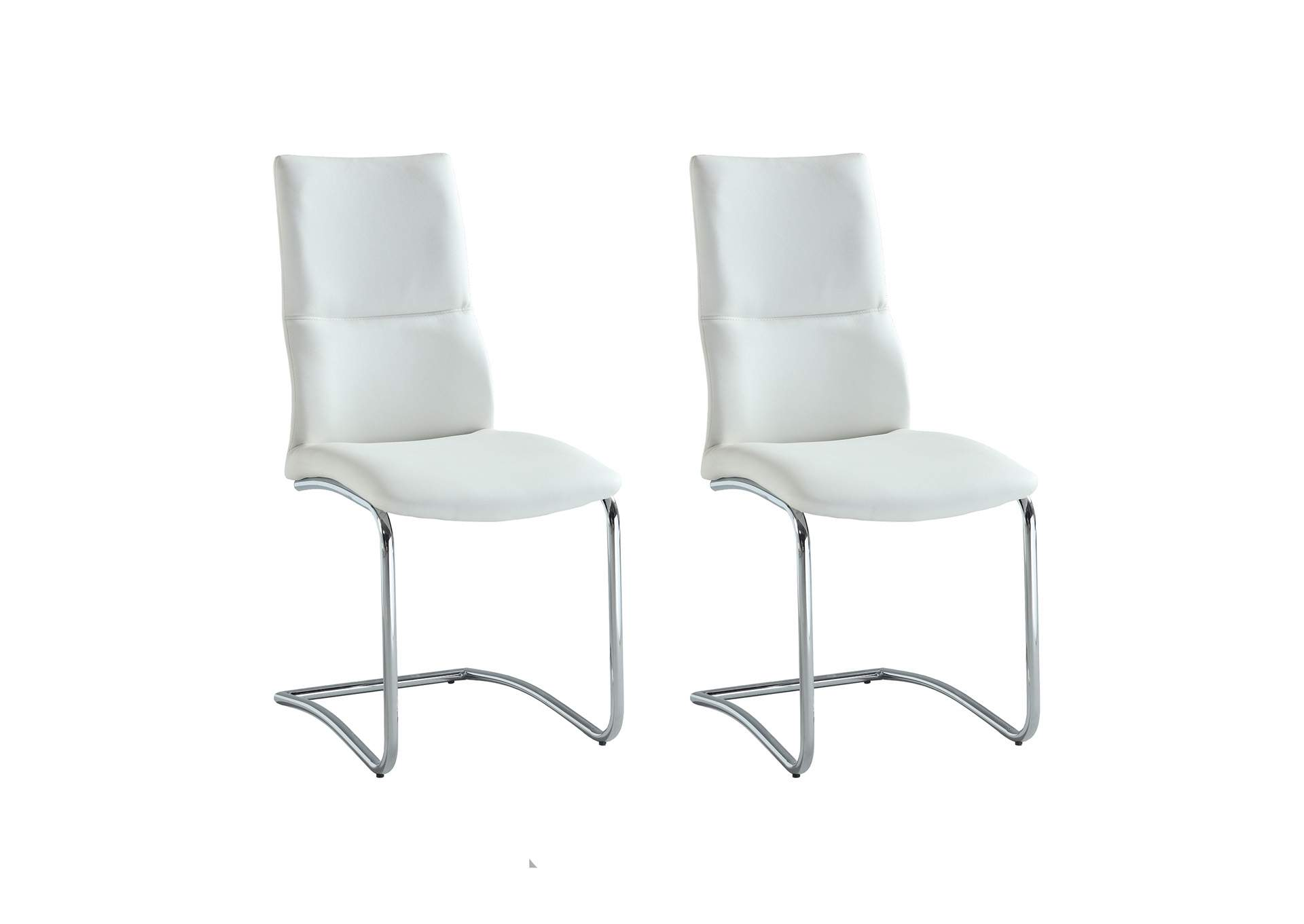 Piper White Cantilever Curved-Back Side Chair (Set of 2),Chintaly Imports