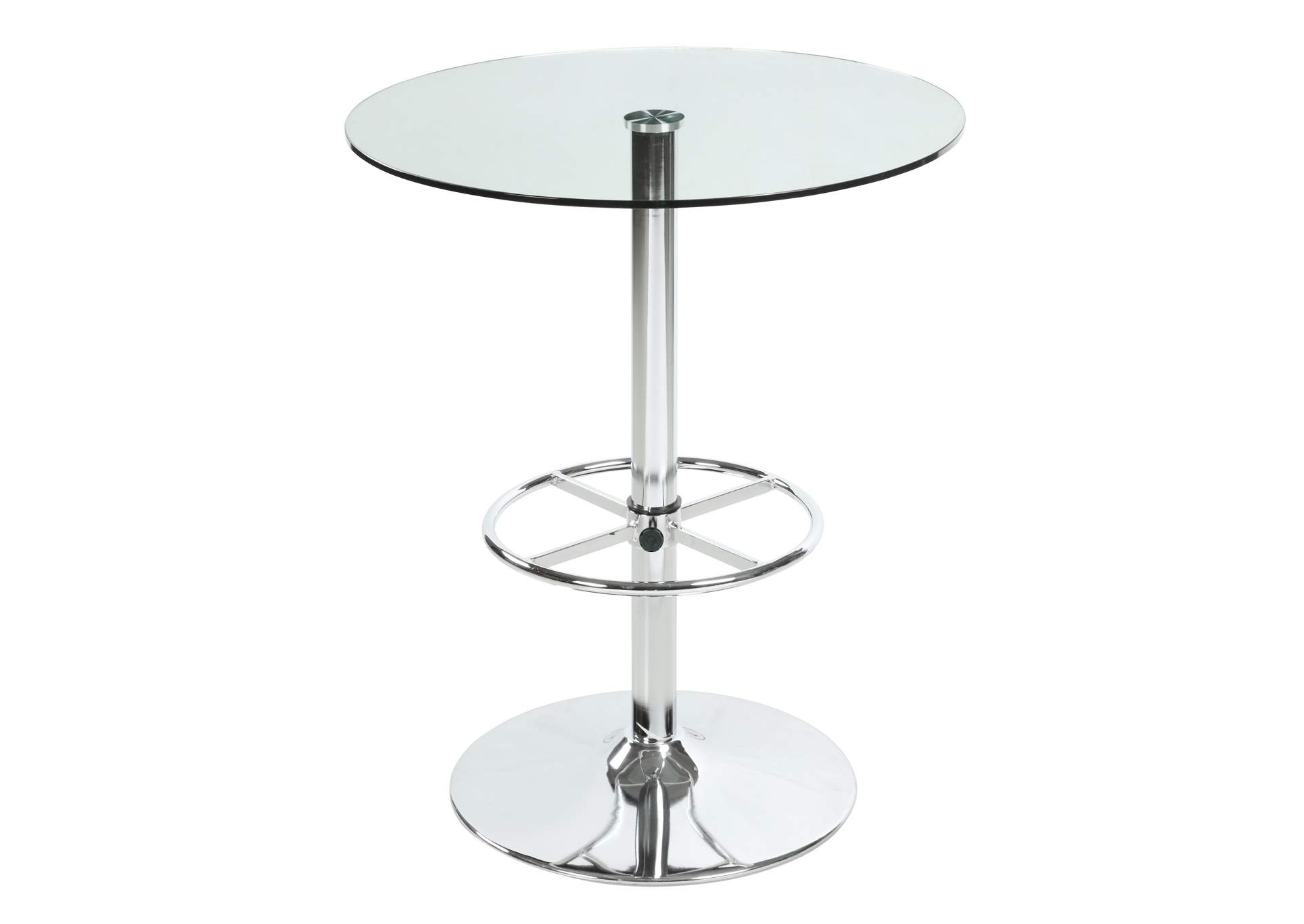 Chrome Round Glass Top Pub Table,Chintaly Imports
