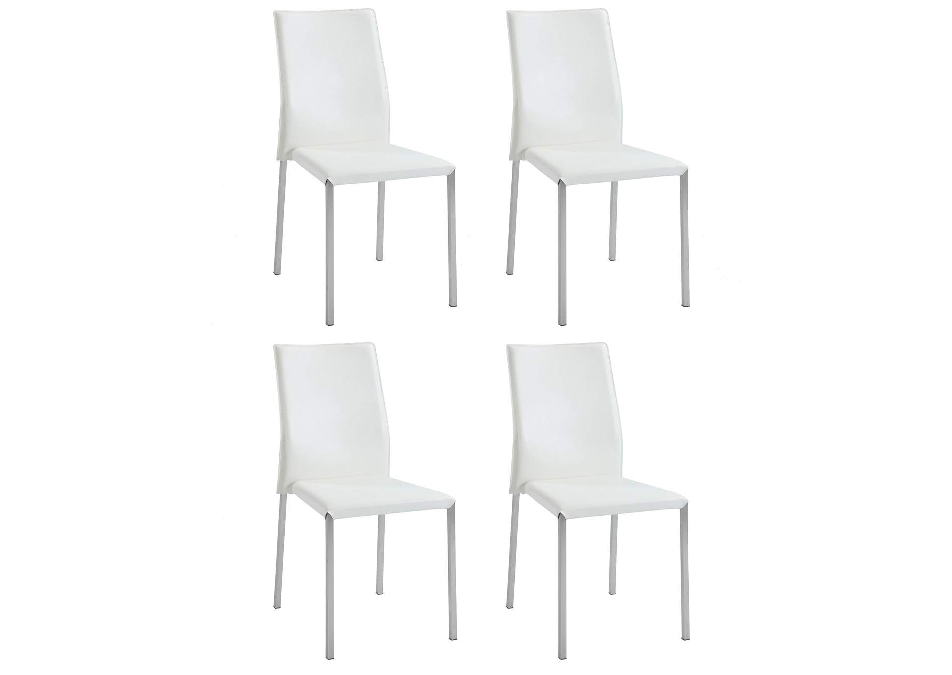 Rhonda White Sleek Back Stackable Side Chair (Set of 4),Chintaly Imports