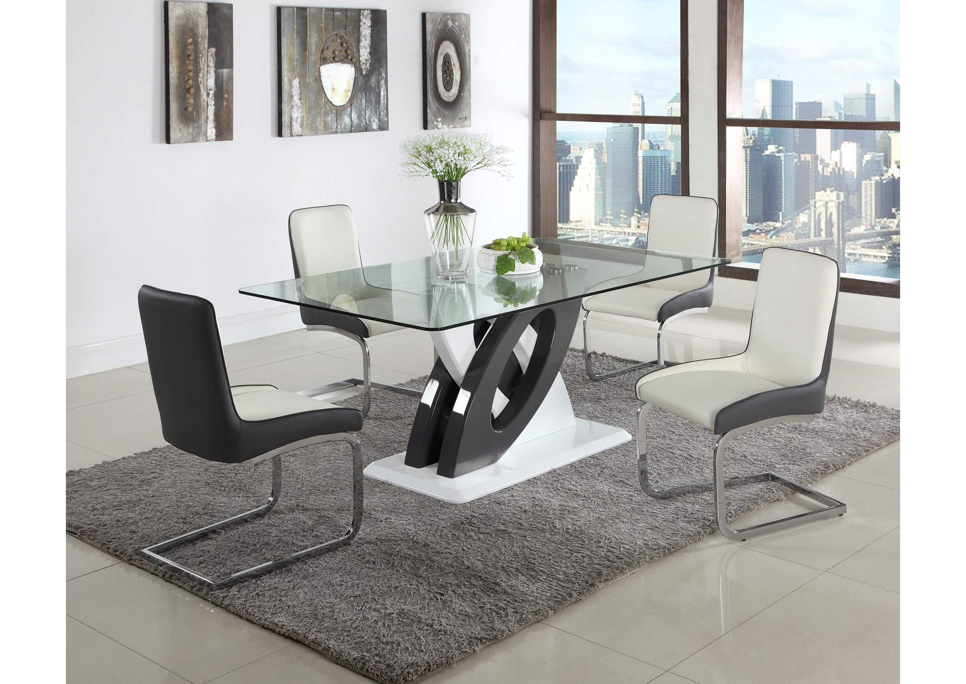 Stella White Modern Glass Top Dining Table,Chintaly Imports