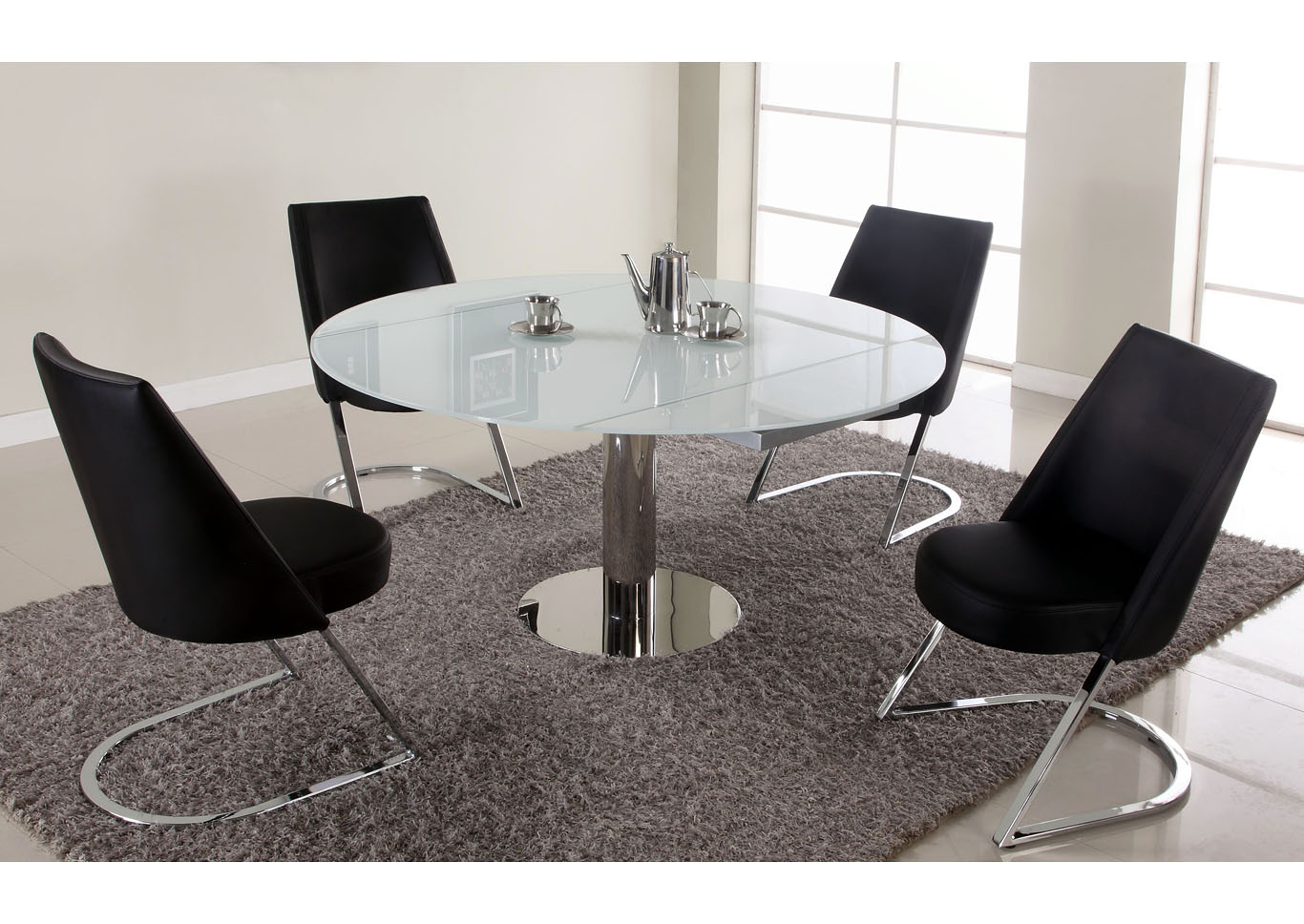 Tami Starphire Glass Extendable Glass Dining Table,Chintaly Imports