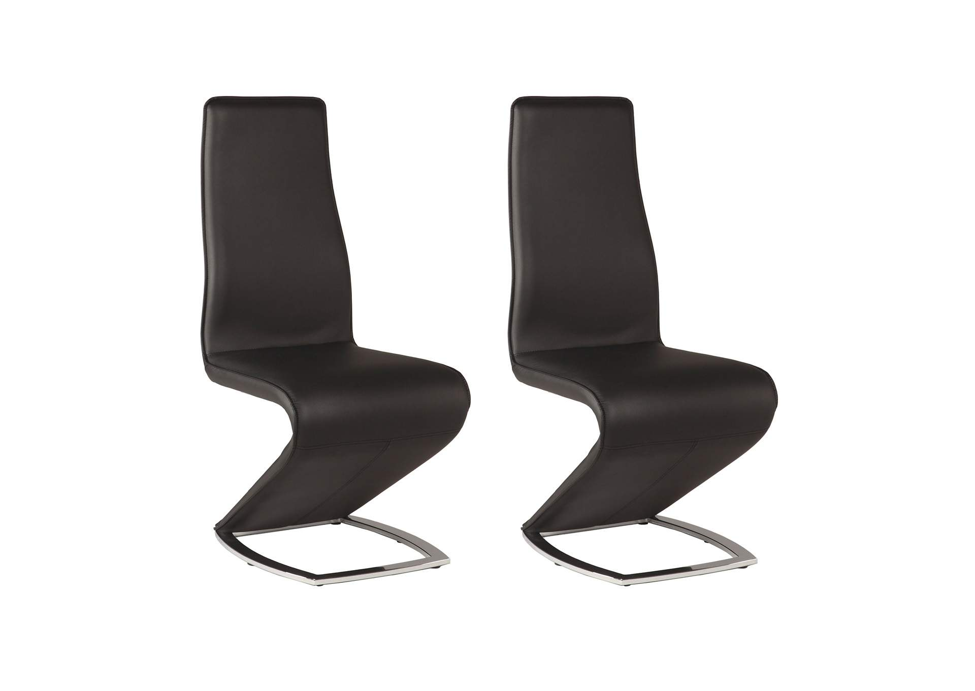 Tara Black Z-Shaped Side Chair (Set of 2),Chintaly Imports