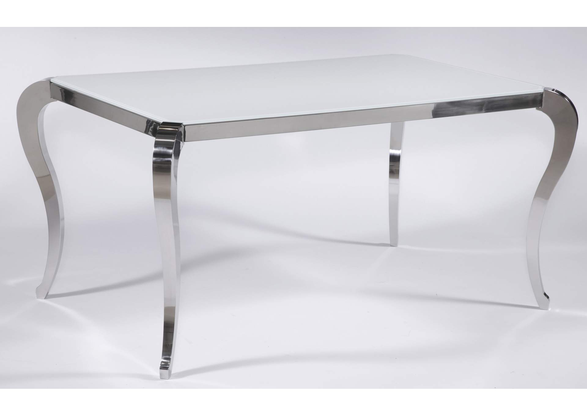 Teresa Super White Starphire Glass Dining Table,Chintaly Imports