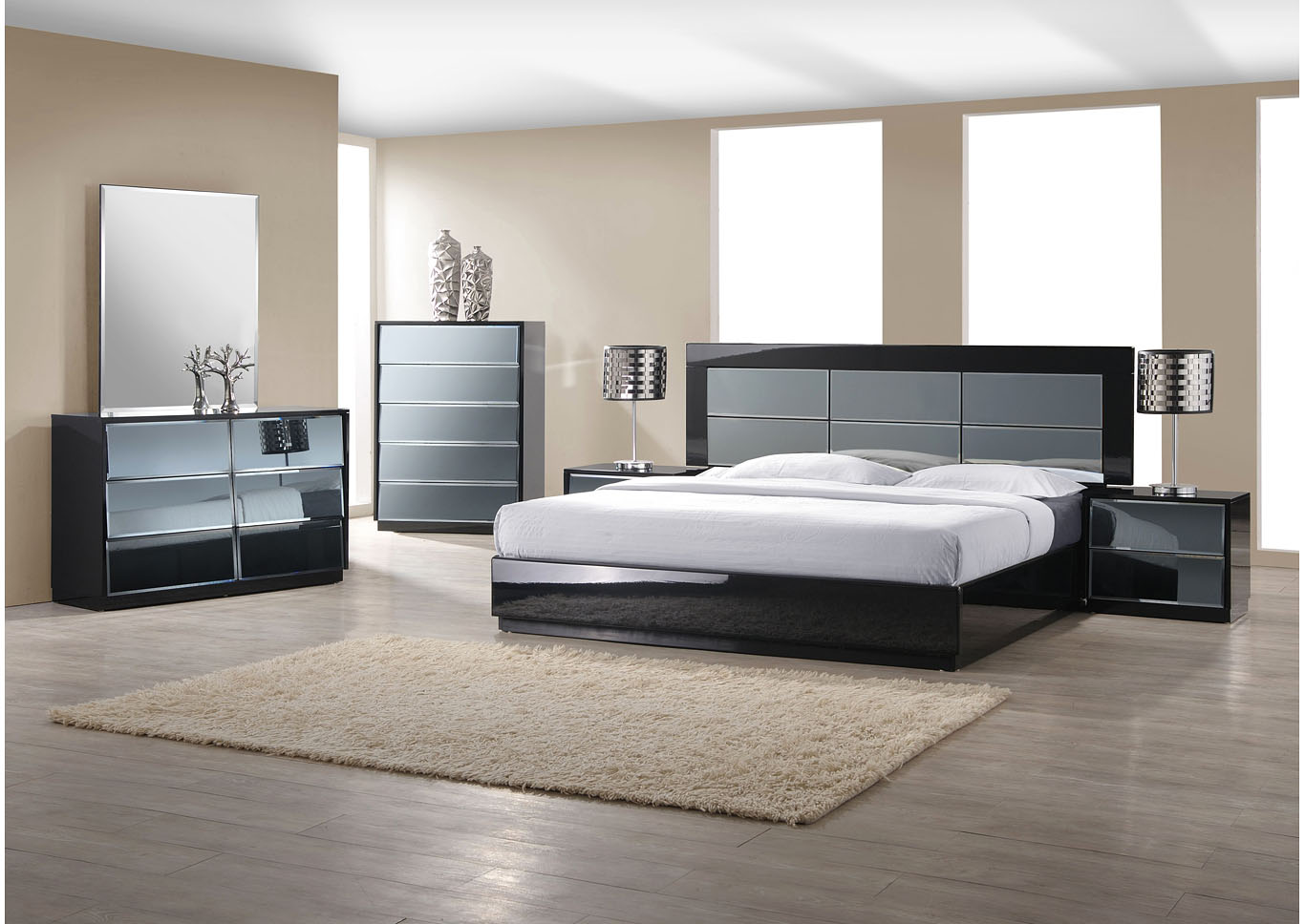 Venice Gloss Black Panel King Bed,Chintaly Imports