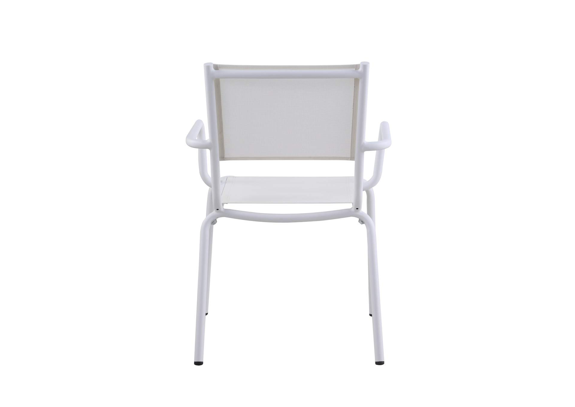 Ventura Matte White Outdoor Arm Chair (Set of 4) w/ Aluminum Frame,Chintaly Imports