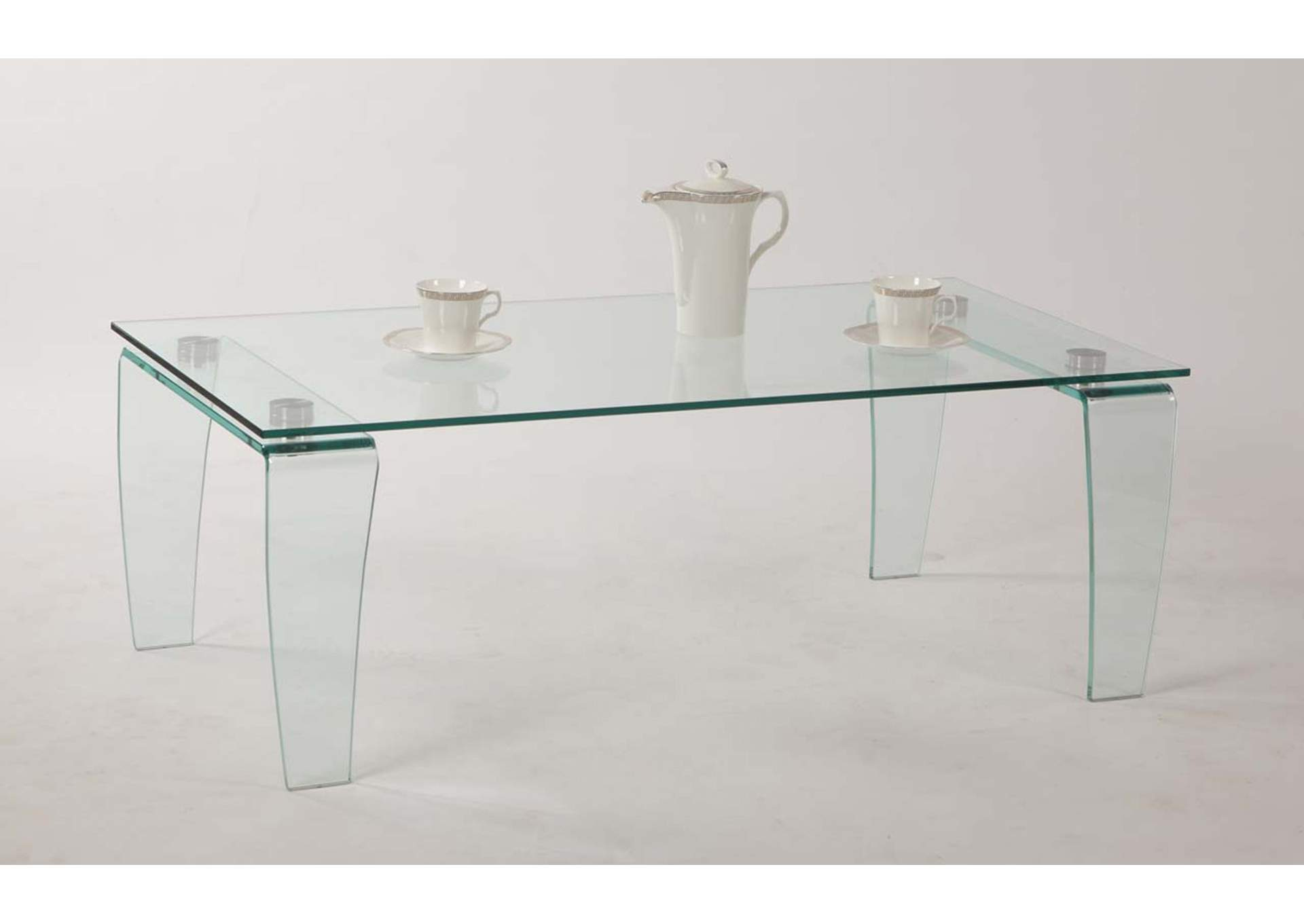 Vera Modern All-Glass Rectangular Cocktail Table,Chintaly Imports