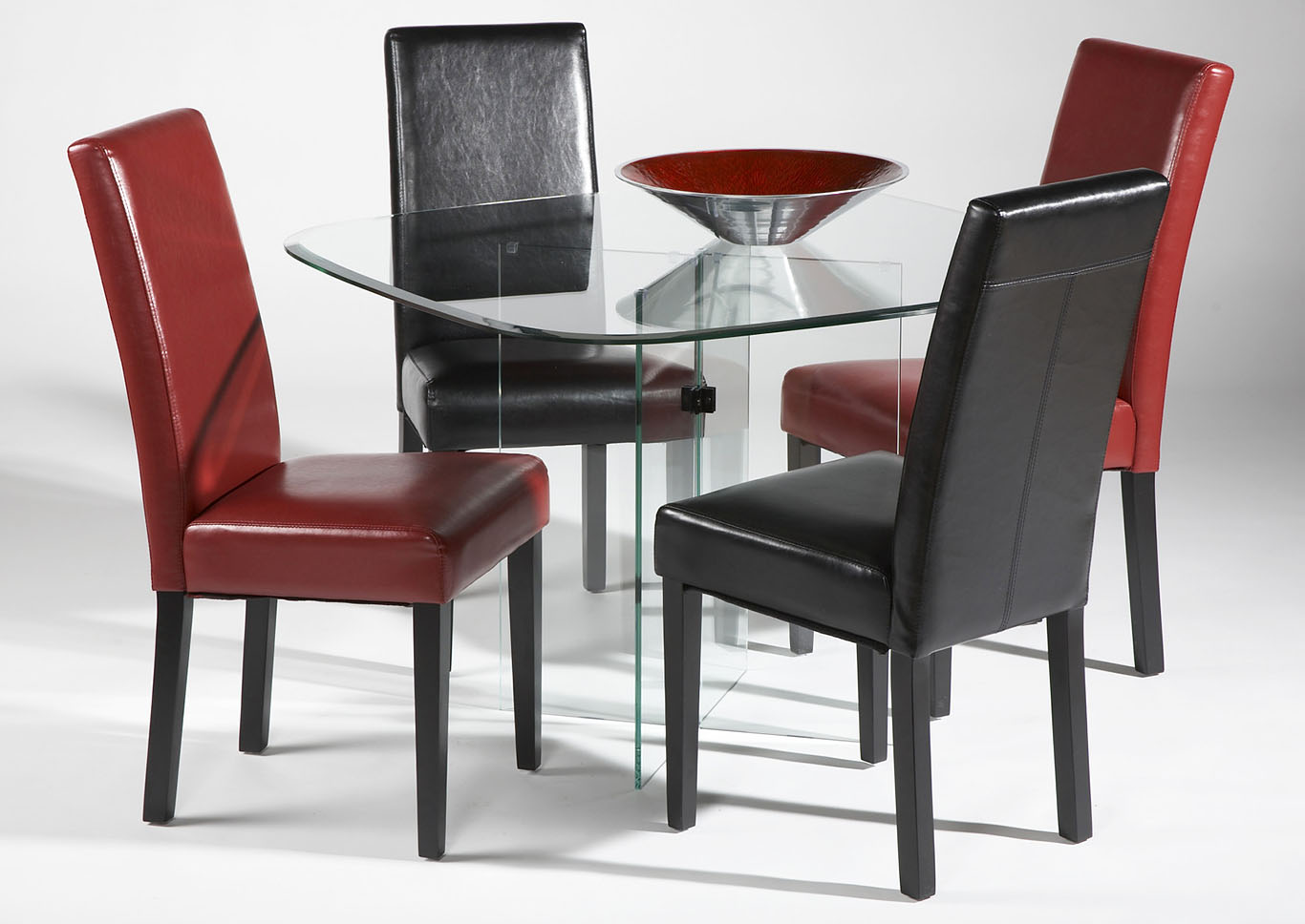 """X"" Base Glass Table w/4 Side Chairs,Chintaly Imports"