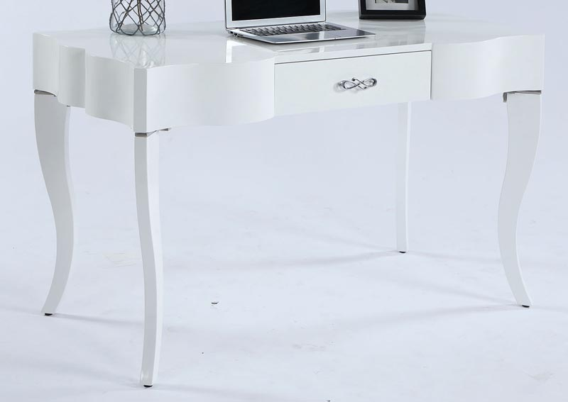 Image for White Cabriolet Leg Computer Desk w/Drawer