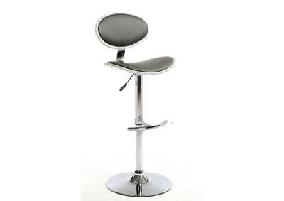 Grey Wood Back & Seat Pneumatic Stool