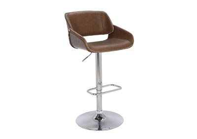 Chrome & Dark Oak Pneumatic Bentwood Saddle Seat Adjustable Stool w/ Stitching