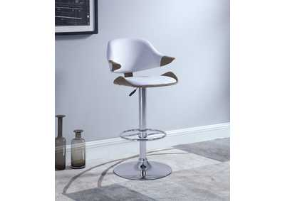 Chrome & Oak Curved Back Adjustable Height Stool