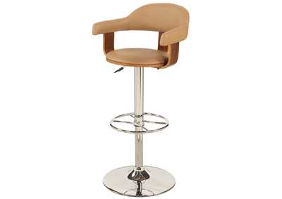 Taupe Upholstered Back Pneumatic Swivel Stool