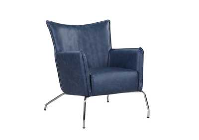 Image for Blue Accent Chair w/ Steel Frame