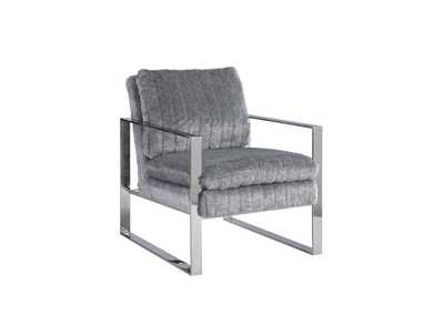 Image for Grey Accent Armchair w/ Channel Back