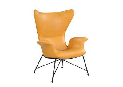 Image for Yellow Orange Accent Chair w/ Steel Frame