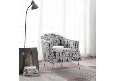 Image for Speckled White & Black Barrel Back Accent Chair