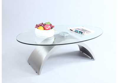 Contemporary Oval Glass Top Cocktail Table