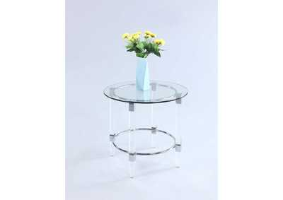 Contemporary Round Glass Top Lamp Table