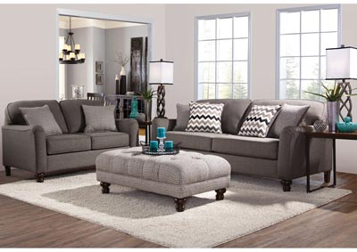 Image for Grey Love Seat w/ Track Arms